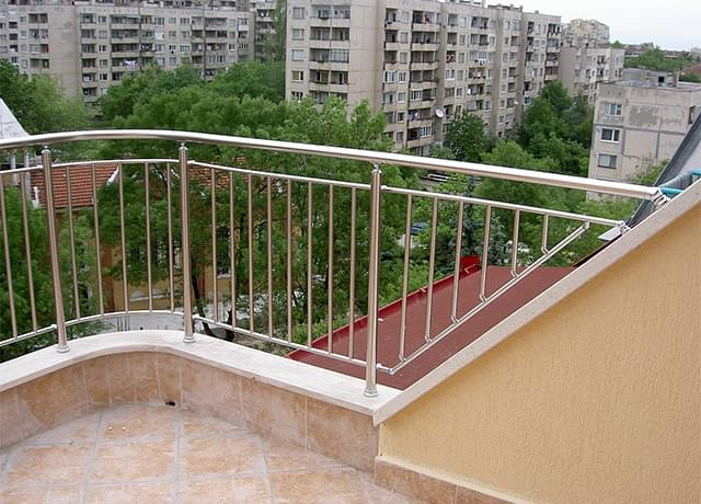 Inox railings with vertical filling