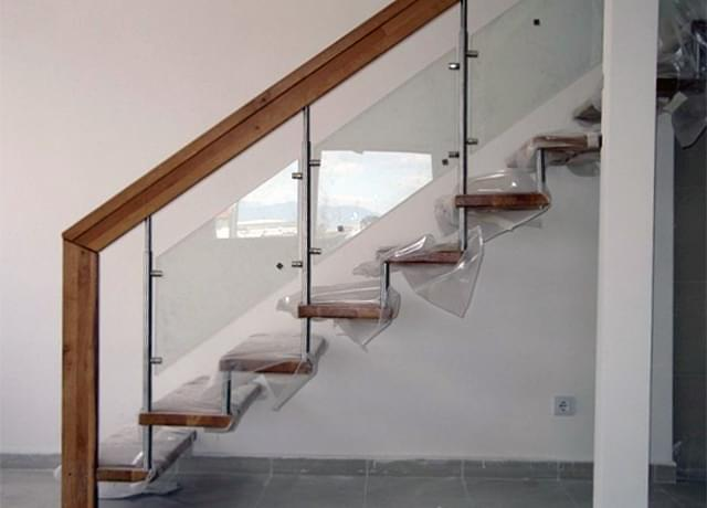 Wooden railings with glass